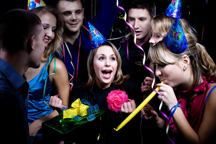 Birthday Party With Many Young People, Nice Shoot.